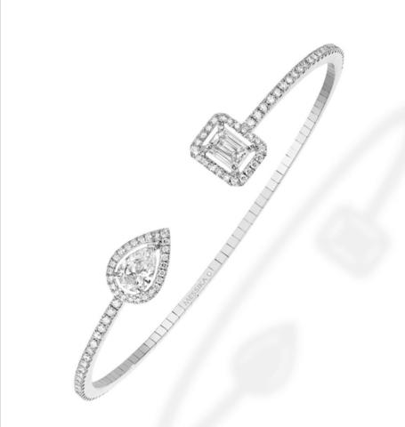 47924- Жёсткий браслет из серебра с цирконами