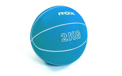 Мяч медицинский медбол 2 кг, резина, d-13 см, голубой