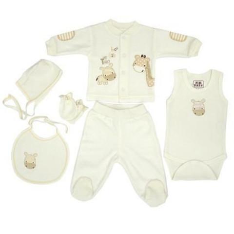 Набор одежды для детей FIMBABY 100863 от 0 до 6 мес. 6 предметов. (р.62 бежевый цвет)