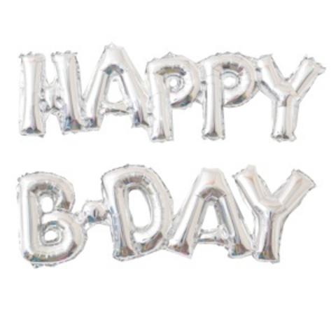 Растяжка из шаров: Буквы из фольги - С днем Рождения, Happy B-Day, серебро