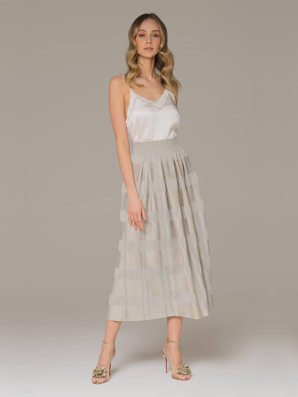 Женская юбка серого цвета из вискозы - фото 1