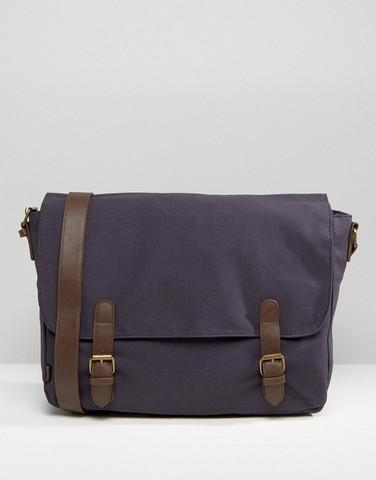 Темно-синяя сумка-почтальон