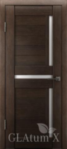 Дверь GreenLine X-16 Atum, стекло белое, цвет венге, остекленная