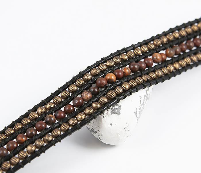 BS813 Необычный широкий браслет из яшмы и металла фото 03