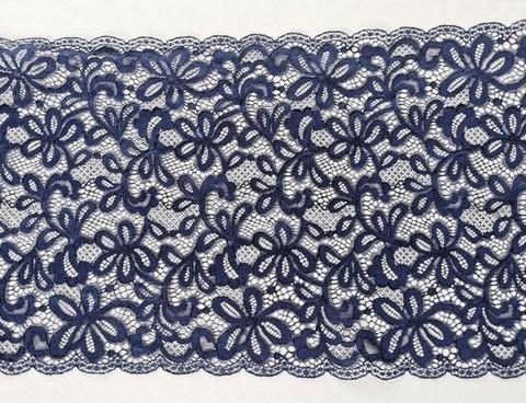 Эластичное кружево, темно-синий, 24см (Артикул: EK-2165), м