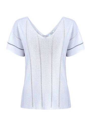 Женская футболка белого цвета из вискозы - фото 1