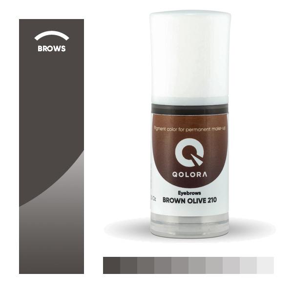 QOLORA BROWN OLIVE 210 (КОРИЧНЕВО-ОЛИВКОВЫЙ) пигмент для татуажа бровей