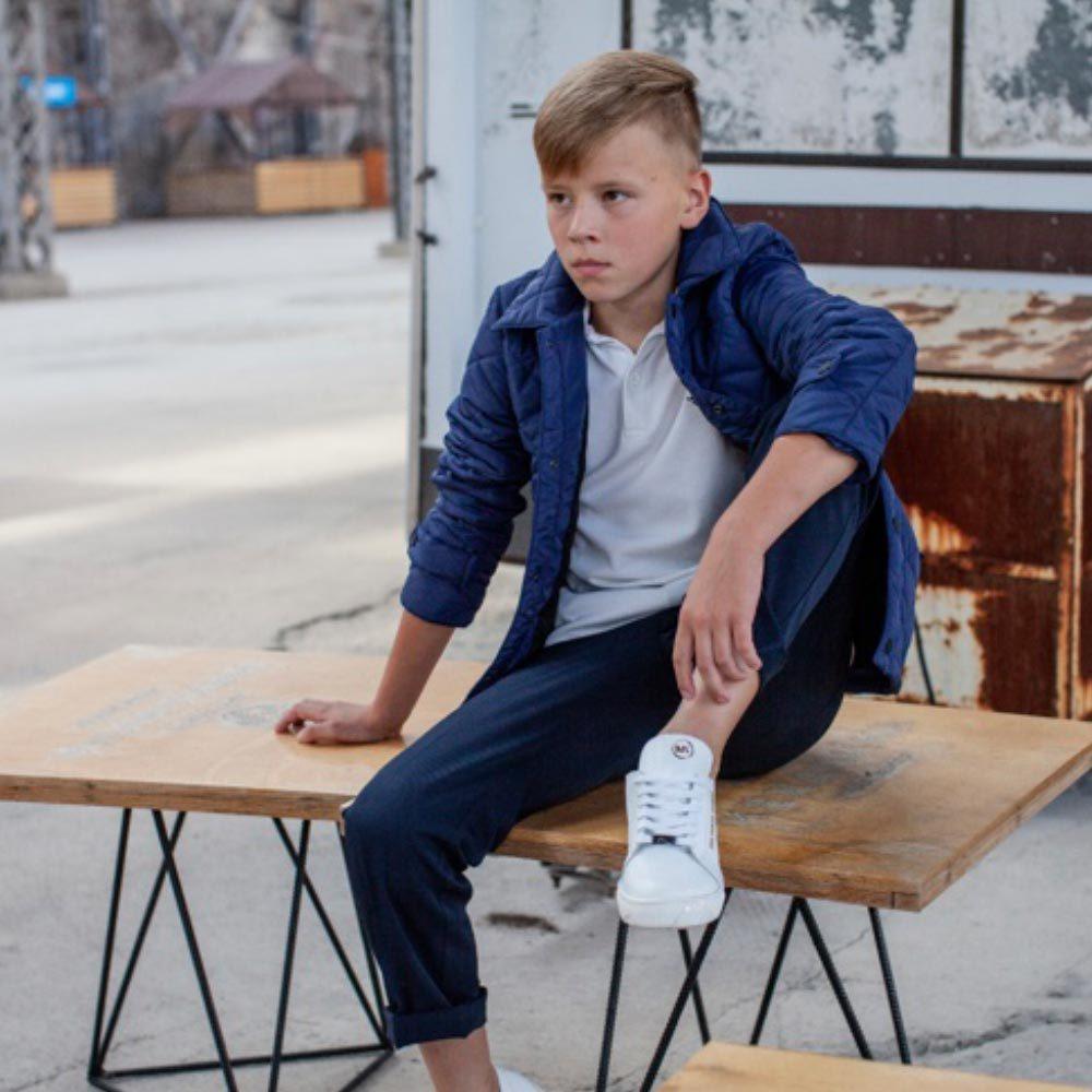 Демісезонна синя куртка на підлітка хлопчика