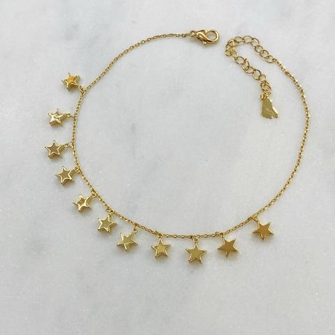 Анклет с подвесками-звездами (золотистый)