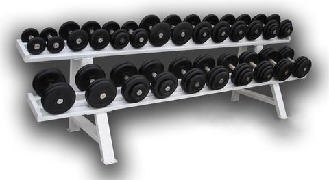 Обрезиненный гантельный ряд 12 пар – от 3.5 до 31 кг с шагом 2,5 кг