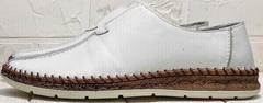 Модные мокасины туфли летние мужские sport casual Luciano Bellini 91724-S-304 All White.