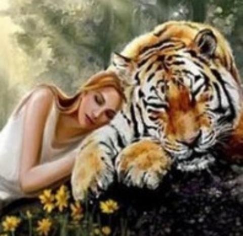 Алмазная Мозаика 30x40 Девушка и тигр (Арт. MHZS273 )