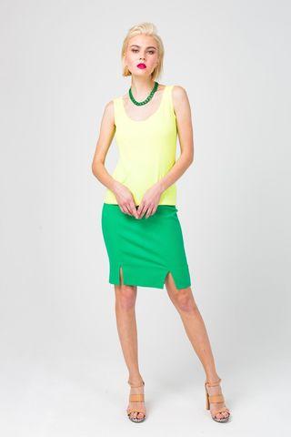 Фото зеленая юбка-карандаш с двумя разрезами - Юбка Б122-368 (1)