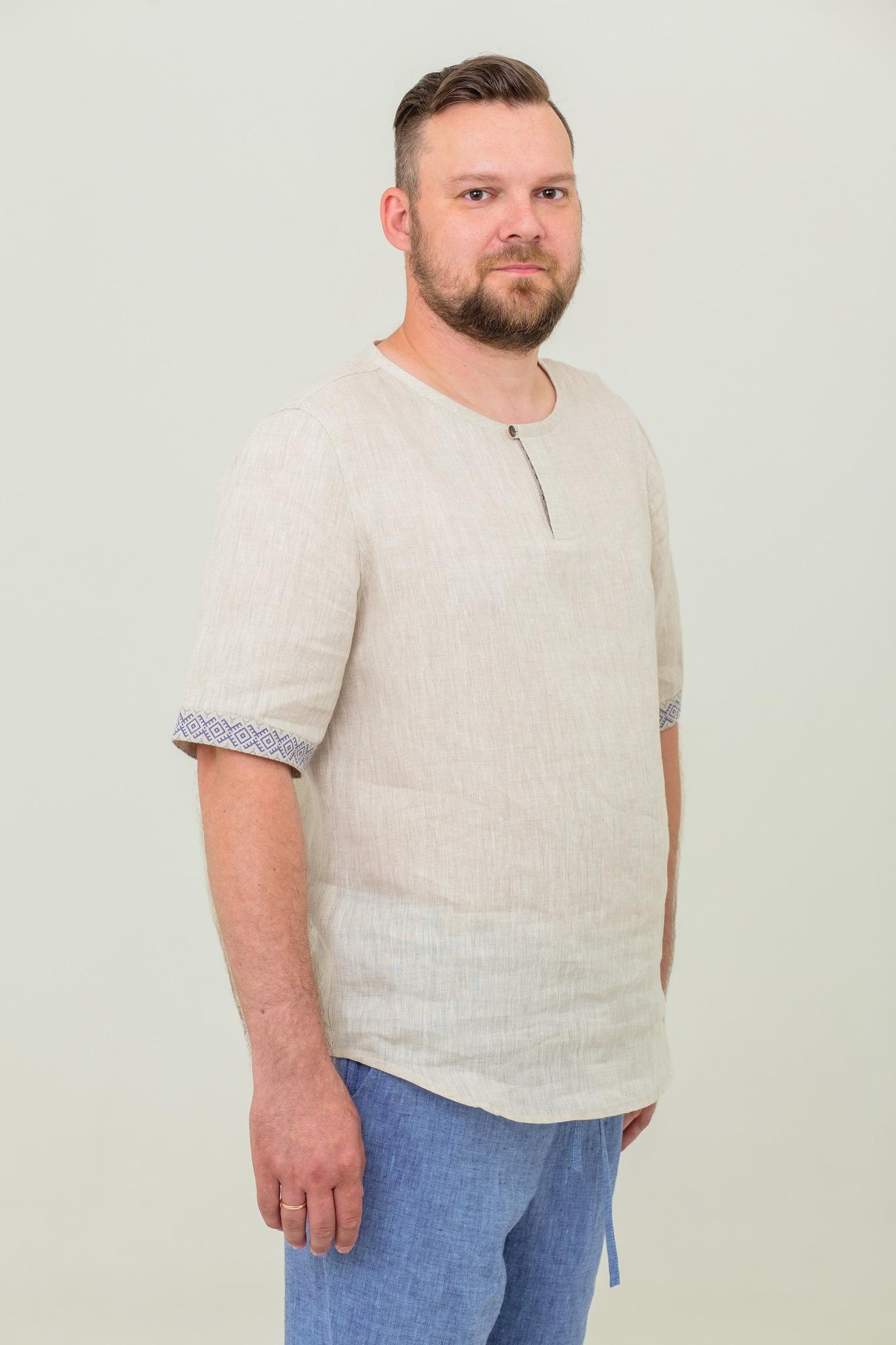 Льняная мужская рубашка славянская Русское поле
