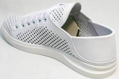 Перфорированные туфли кеды женские летние белые ZiKo KPP2 Wite.