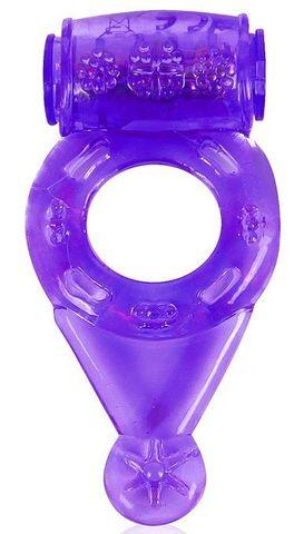 Фиолетовое эрекционное виброкольцо с шипиками
