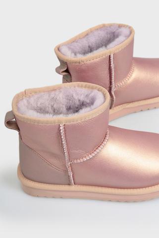 Женские розовые кожаные угги PRPY