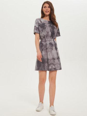 BM Платье пояс-резинка Тай-дай Серый/Бел