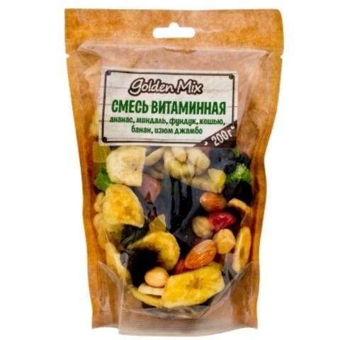 Ассорти Golden Mix Витаминное ананас, миндаль, фундук, кешью, банан, изюм 200г