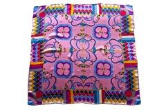 Итальянский платок из шелка сиреневый с орнаментом 5226