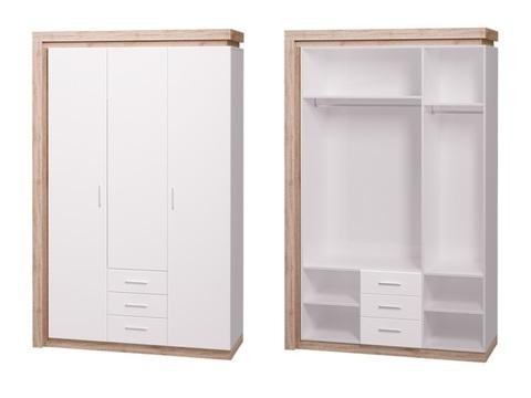 Шкаф трехдверный (3 ящика) Люмен 15 Ижмебель дуб сакраменто/белый снег глянец