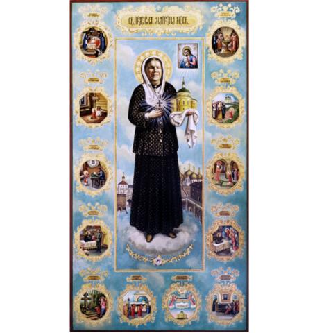 Купить икону святой Матроны Московской со сценами жизни на дереве на левкасе мастерская Иконный Дом