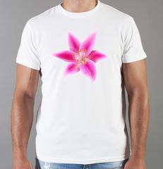 Футболка с принтом Цветы (Лилии) белая 004