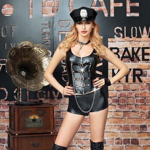 Набор Sexy hard police (кепка, воротник, перчатки, топ, шортики)