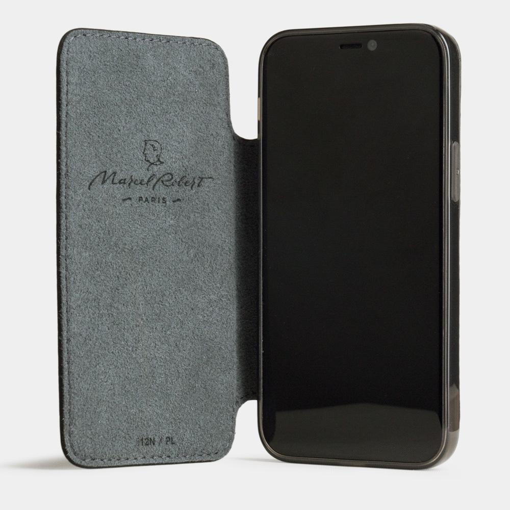 Чехол Benoit для iPhone 12 Mini из натуральной кожи теленка, цвета черный мат