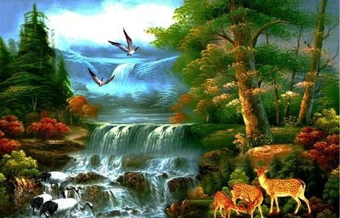 Алмазная Мозаика 40x50 Водопад и звери (арт. GA70602)