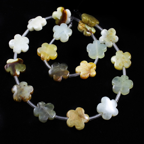 Бусины оникс Цветочек 15 мм