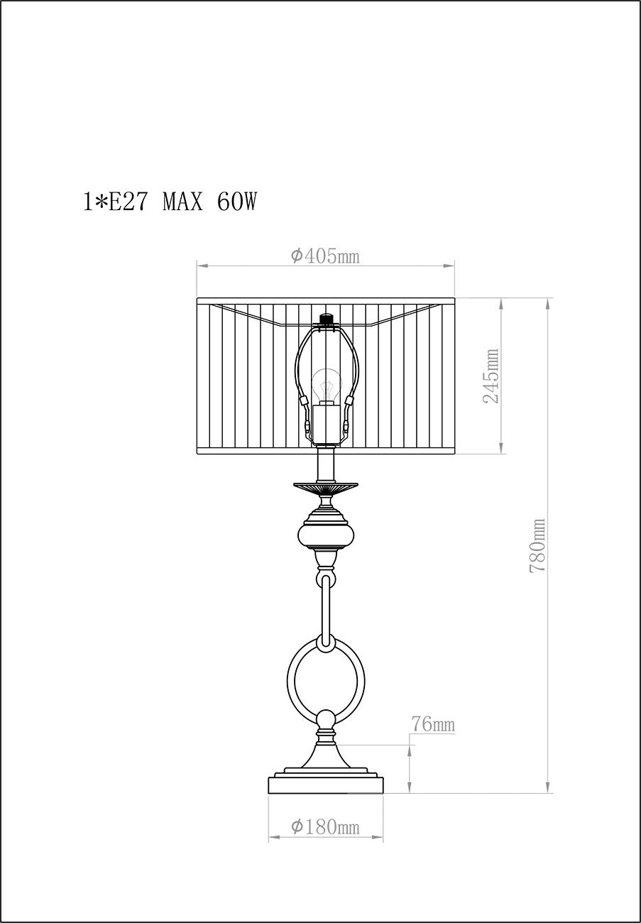 K2BT-1052-1 Лампа настольная d40*81см плафон серый