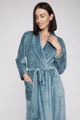 Велюровый женский халат 807 бирюза PÊCHE MONNAIE France