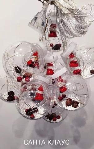 Гирлянда штора шарики с игрушкой «Снеговик» внутри 10 шт