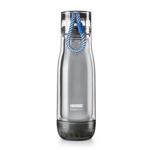 Бутылка стеклянная Zoku Active 475 мл с синим ремешком