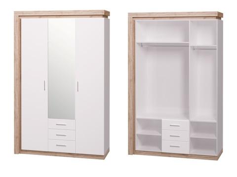 Шкаф трехдверный (3 ящика) с зеркалом Люмен 15 Ижмебель дуб сакраменто/белый снег глянец