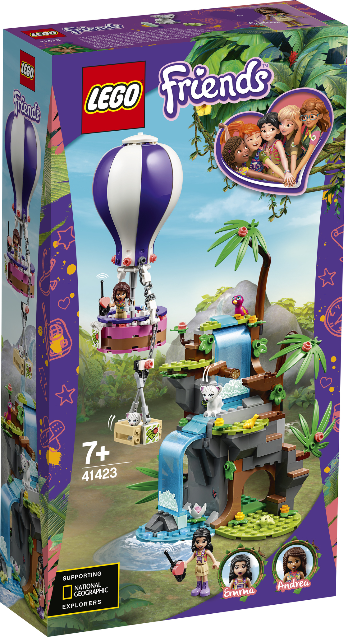 Конструктор LEGO Friends 41423 джунгли спасение тигра на воздушном шаре