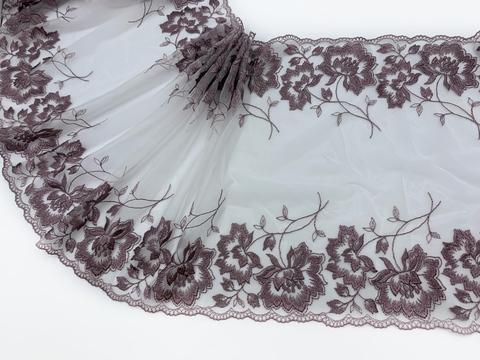 Вышивка на сетке розовая/св.фиолетовая 30 см