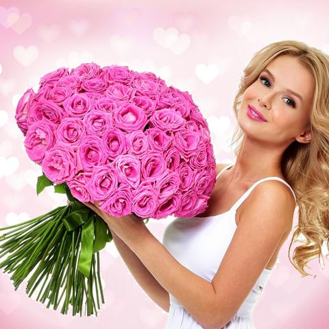 Розы розовые Aqua от 9шт