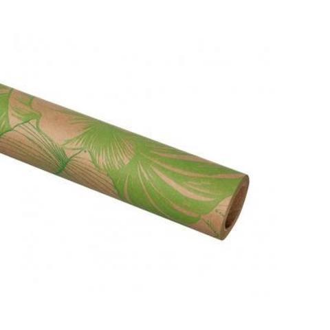 Бумага упаковочная крафт Тропики 70гр, 70 см 10 м, натуральный/зеленый
