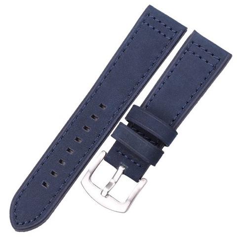Кожаный ремешок 22мм Hengrc для Samsung Gear S3/Galaxy Watch 46 (синий)