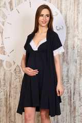Мамаландия. Комплект для беременных и кормящих с кружевной отделкой, темно-синий вид 2