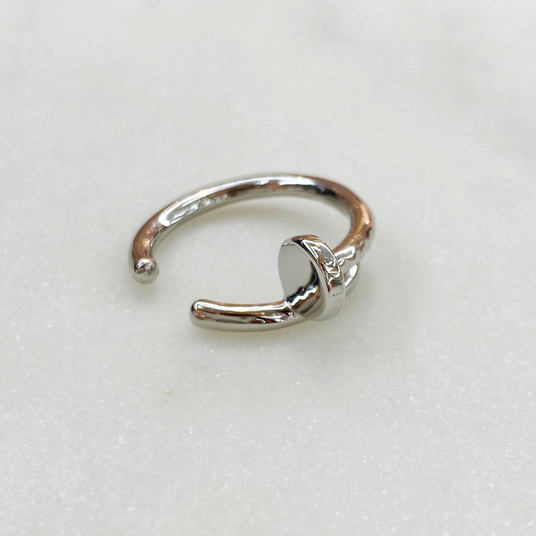 Кафф-зажим 2-в-1 Кольцо Гвоздь (серебристый)