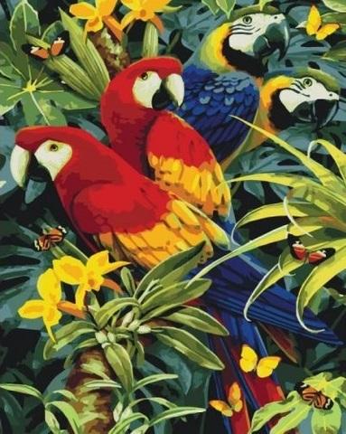 Алмазная Мозаика 30x40 Попугаи в джунглях (арт. S3253)