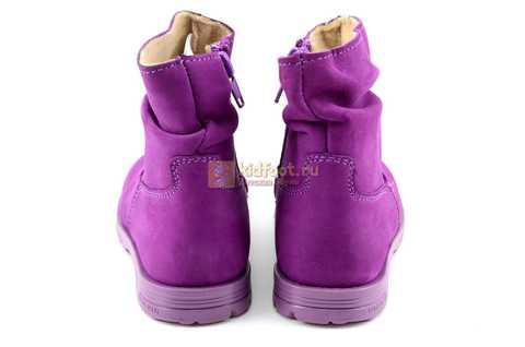Полусапожки демисезонные Тотто из натуральной кожи на байке для девочек, цвет фиолетовый. Изображение 7 из 13.
