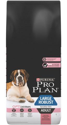 Сухой корм Purina Pro Plan для собак крупных пород с мощным телосложением с чувствительной кожей, лосось и рис