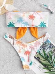 купальник раздельный бандо белый оранжевый с пальмами 2