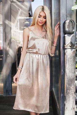 Платье-комбинация, миди, бронзового цвета