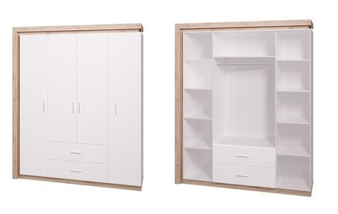 Шкаф четырехдверный Люмен 16 Ижмебель дуб сакраменто/белый снег глянец