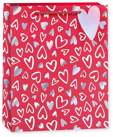Пакет подарочный, Граффити сердец, Красный, Голография, 23*18*10 см